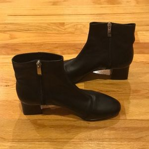 Zara black leather heel ankle boots Sz 7.5 (38)